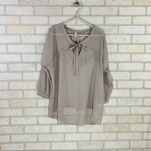 Gentle Fawn Gray Lace Trim Peasant Blouse